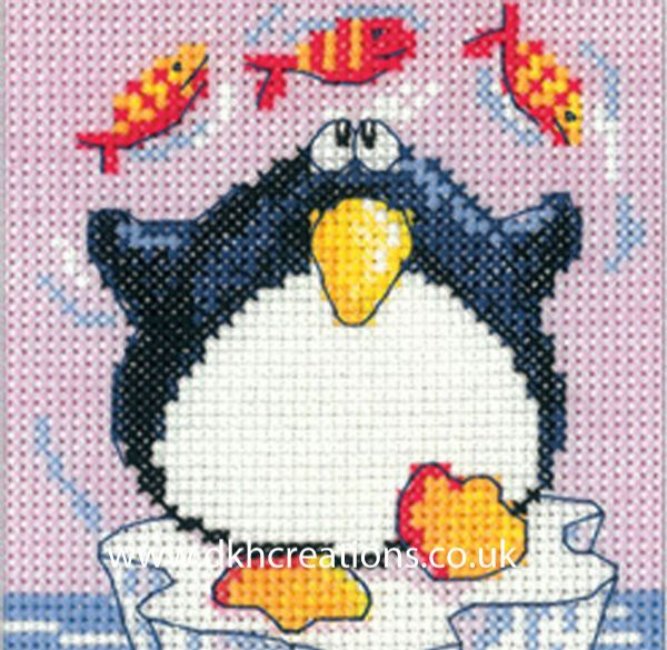 Karen Carter  Penguin  Christmas Greeting Card Cross Stitch Kit
